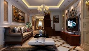 北京福熙大道三室新中式、简欧166平装修效果图
