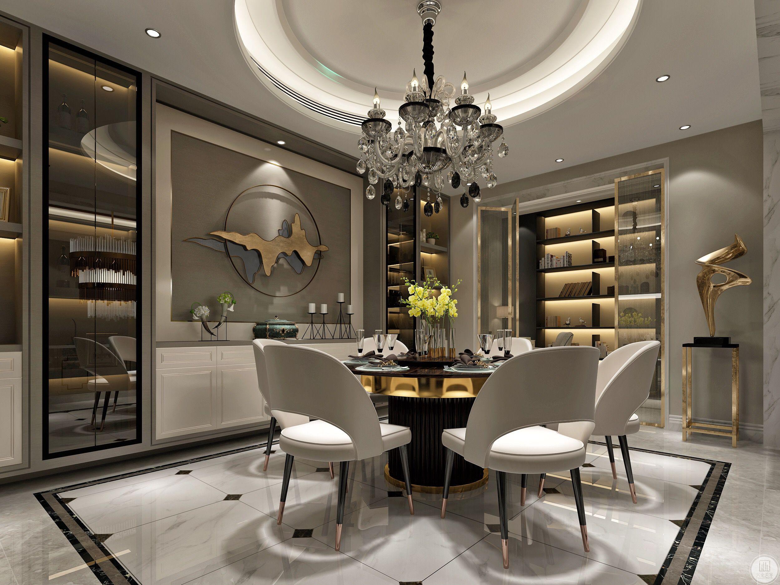 餐厅环形吊灯,搭配豪华的餐座椅,很舒适的用餐氛围。