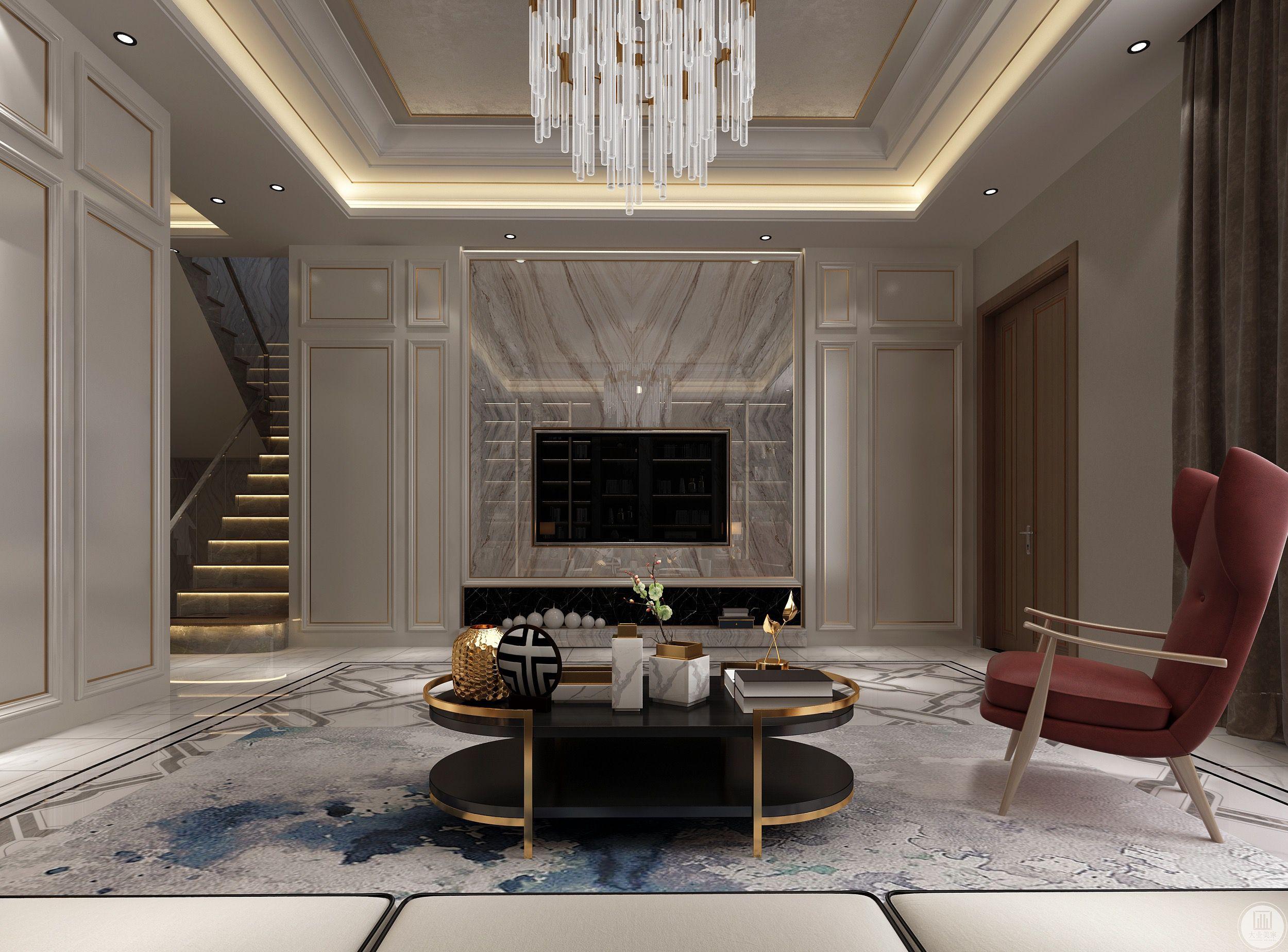 客厅的布置简单大方,设计从视觉上给人宽敞明亮的感觉。