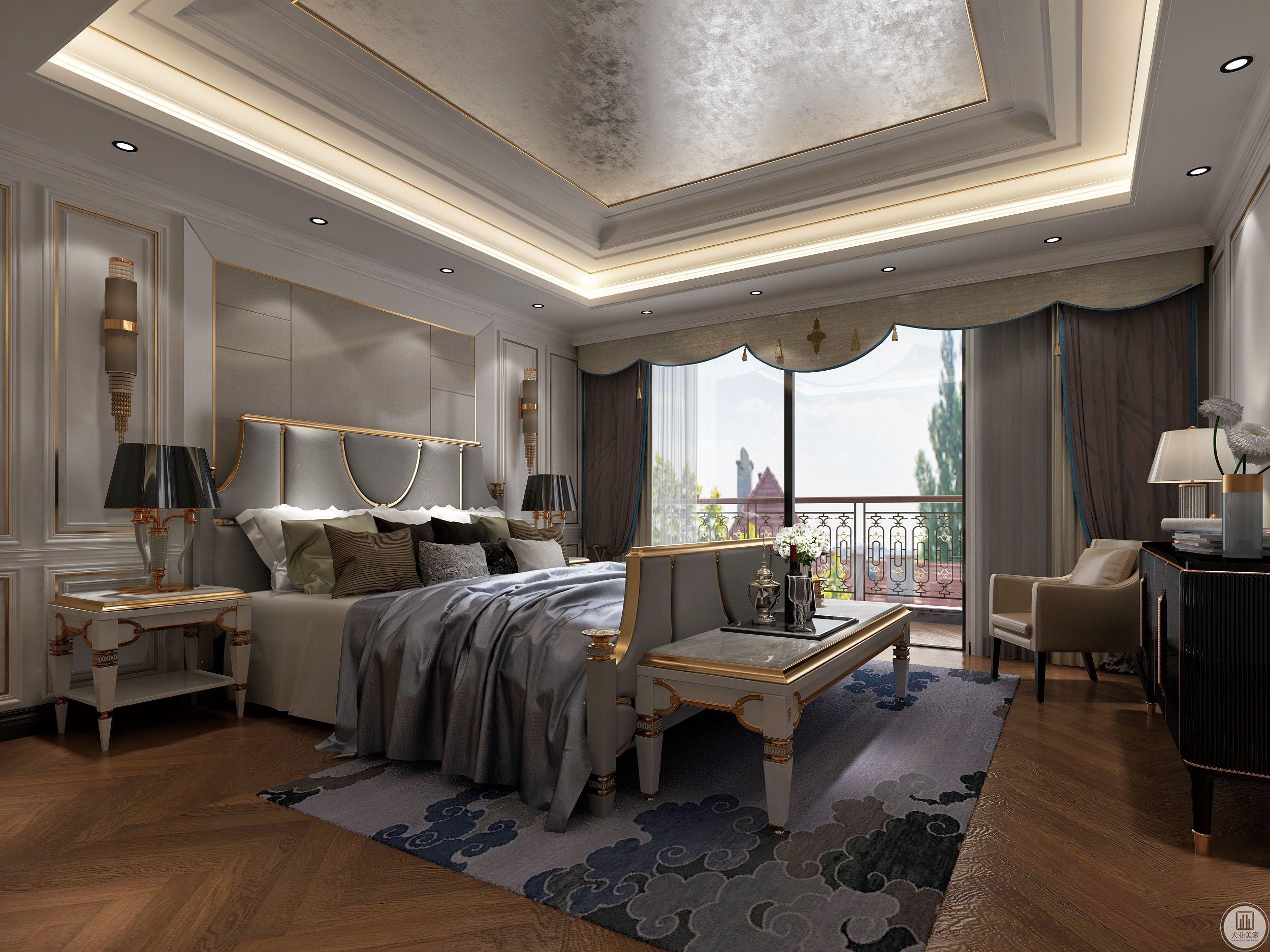 卧室注重对舒适融洽私人空间氛围的营造,设计师采用高级灰的床搭配蓝色窗帘点缀为整个卧室增添一丝浪漫色彩。