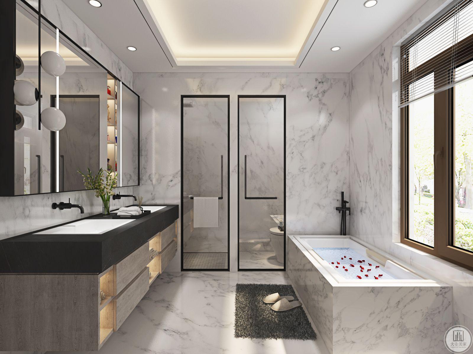 卫生间区设置了洗手台和收纳空间 ,浴缸的设计合理利用了空间。