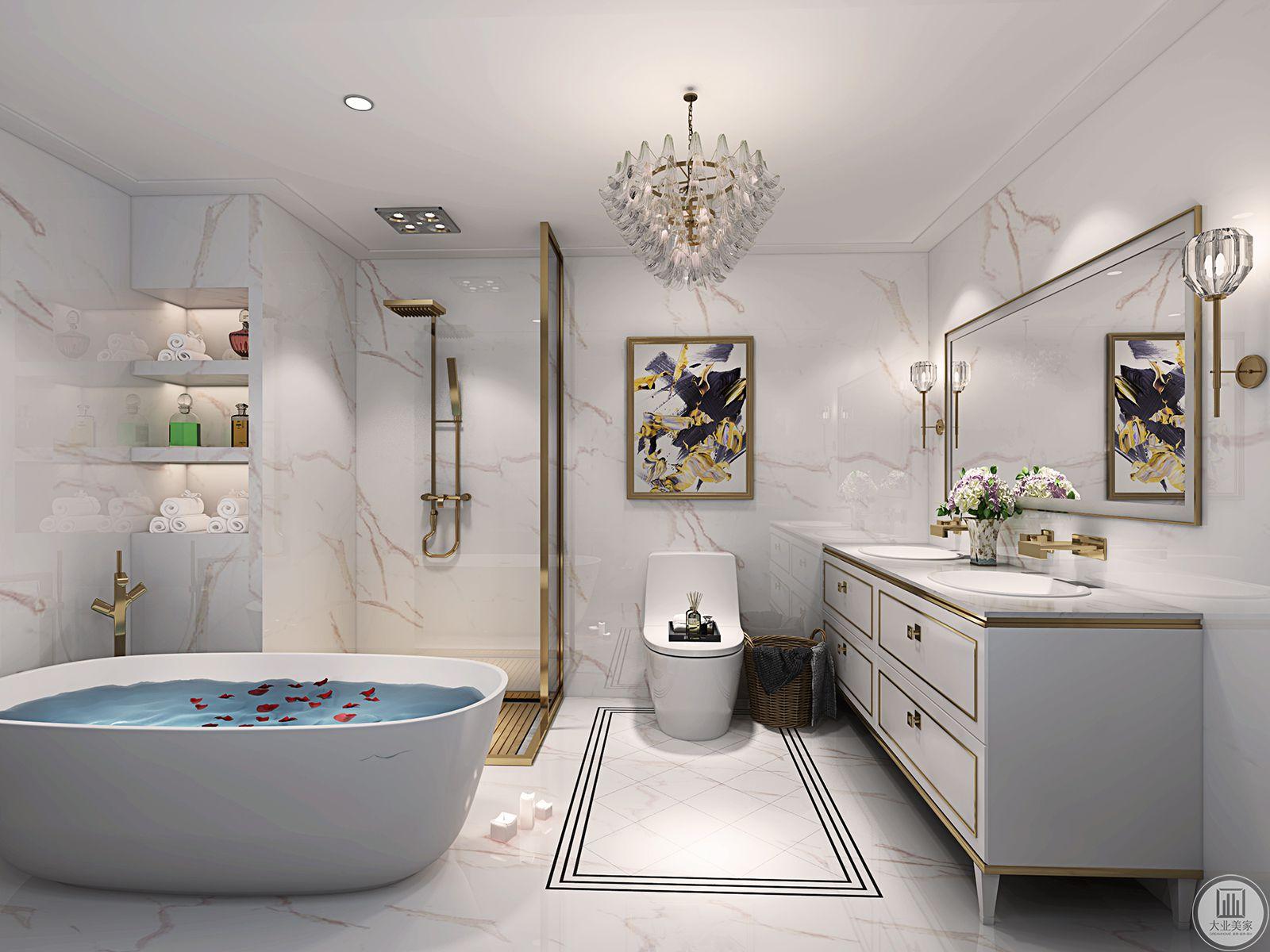 卫生间墙面使用大理石,便于清洁。