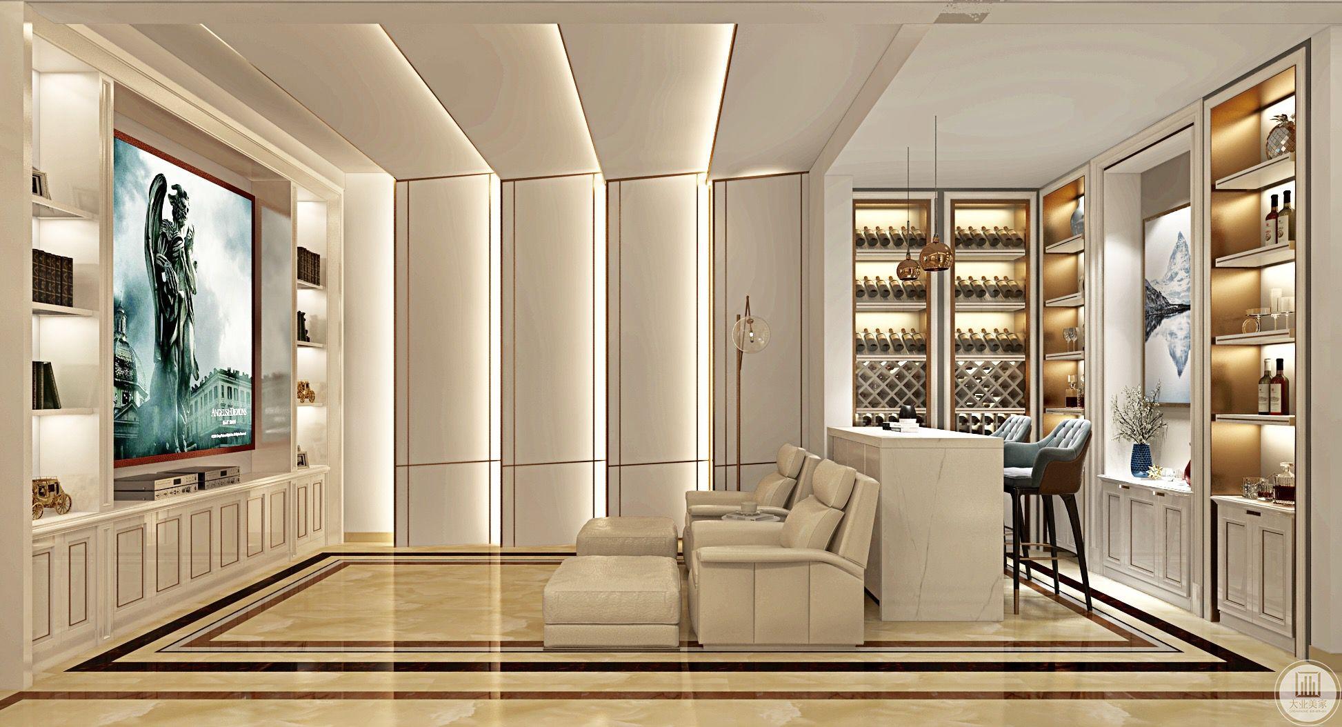 影视区白色的真皮沙发与整个房间的主色呼应