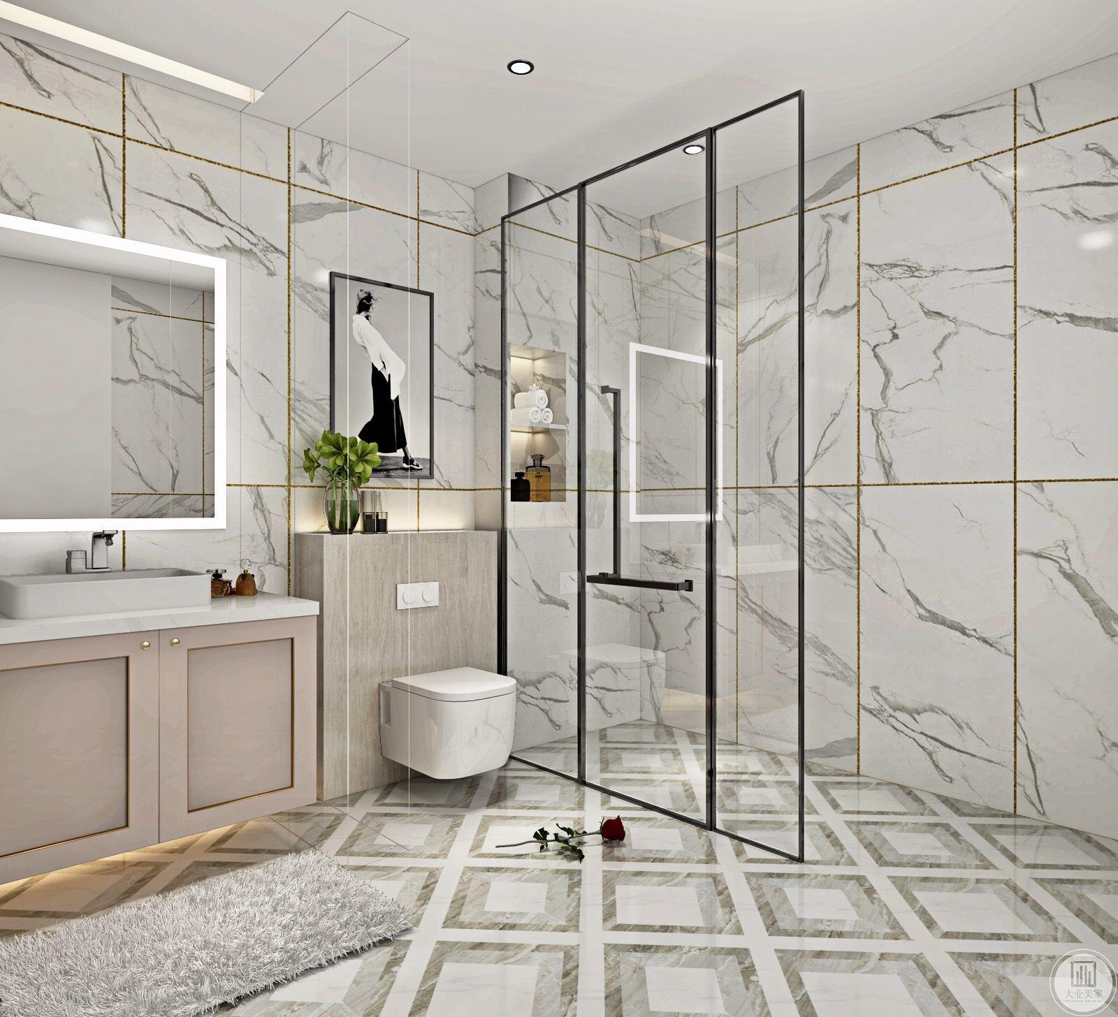 卫生间区设置了洗手台和收纳空间 。
