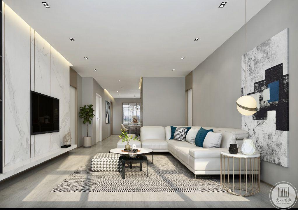 客厅背景墙设置成大理石墙面的样式,是新中式风格的经典运用。