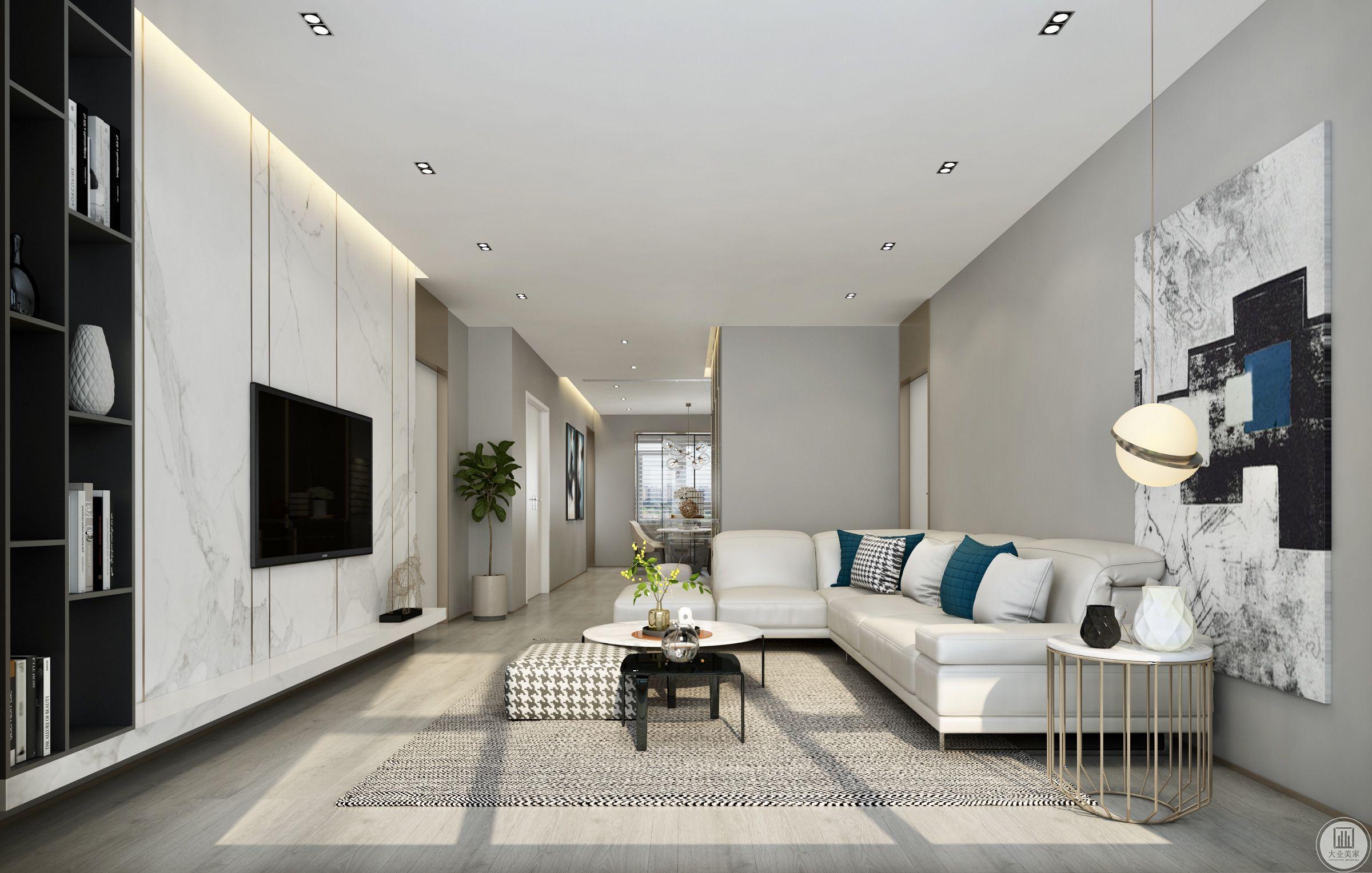 客厅背景墙设置成大理石墙面的样式,搭配白色的沙发,显得整个房间很干净。