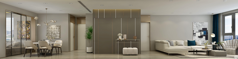 整体选用灰色给房间带来层次感,搭配白色的家居,增添了艺术设计感。