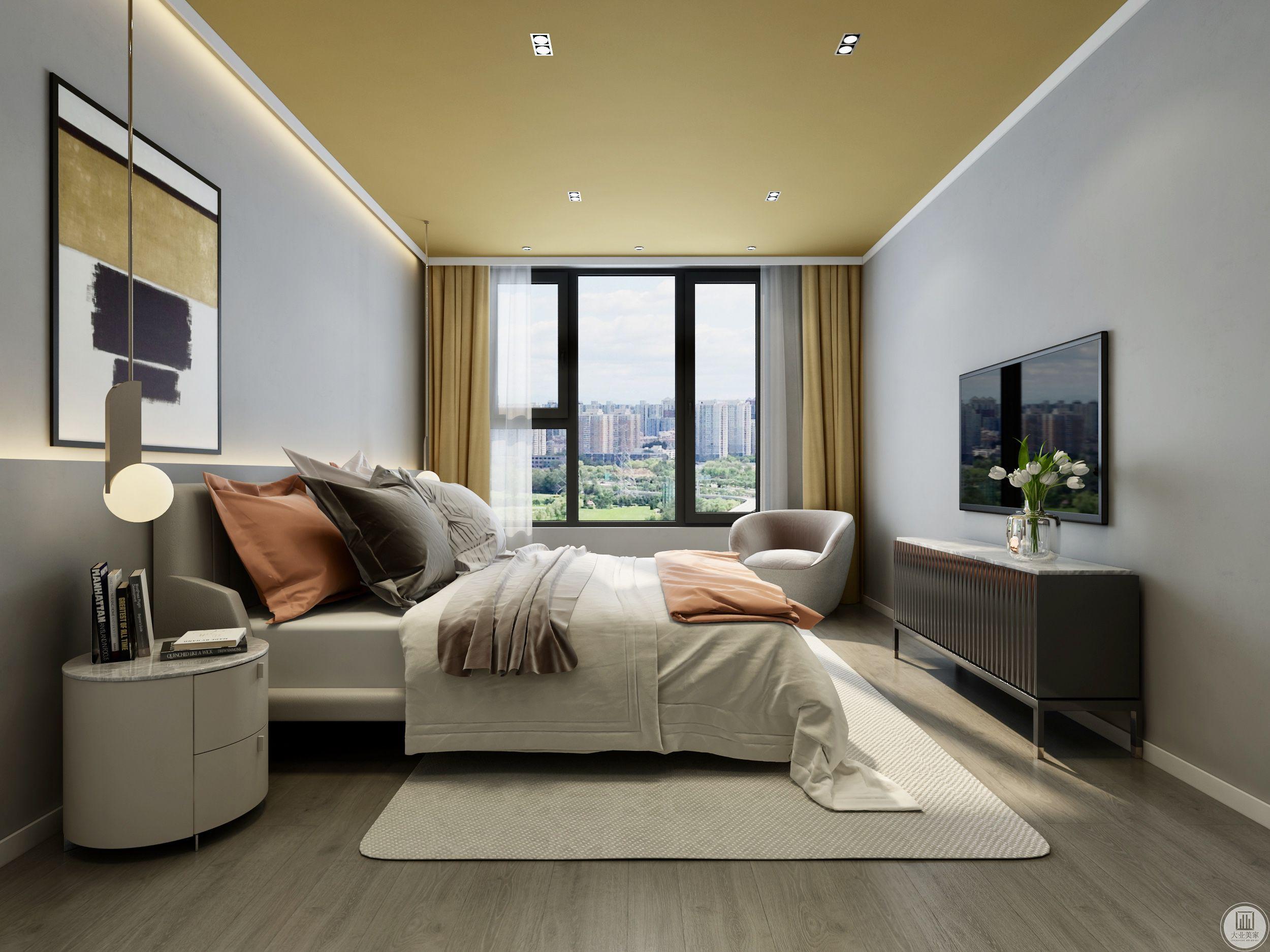 卧室姜黄色的应用,使居住空间温暖浪漫。