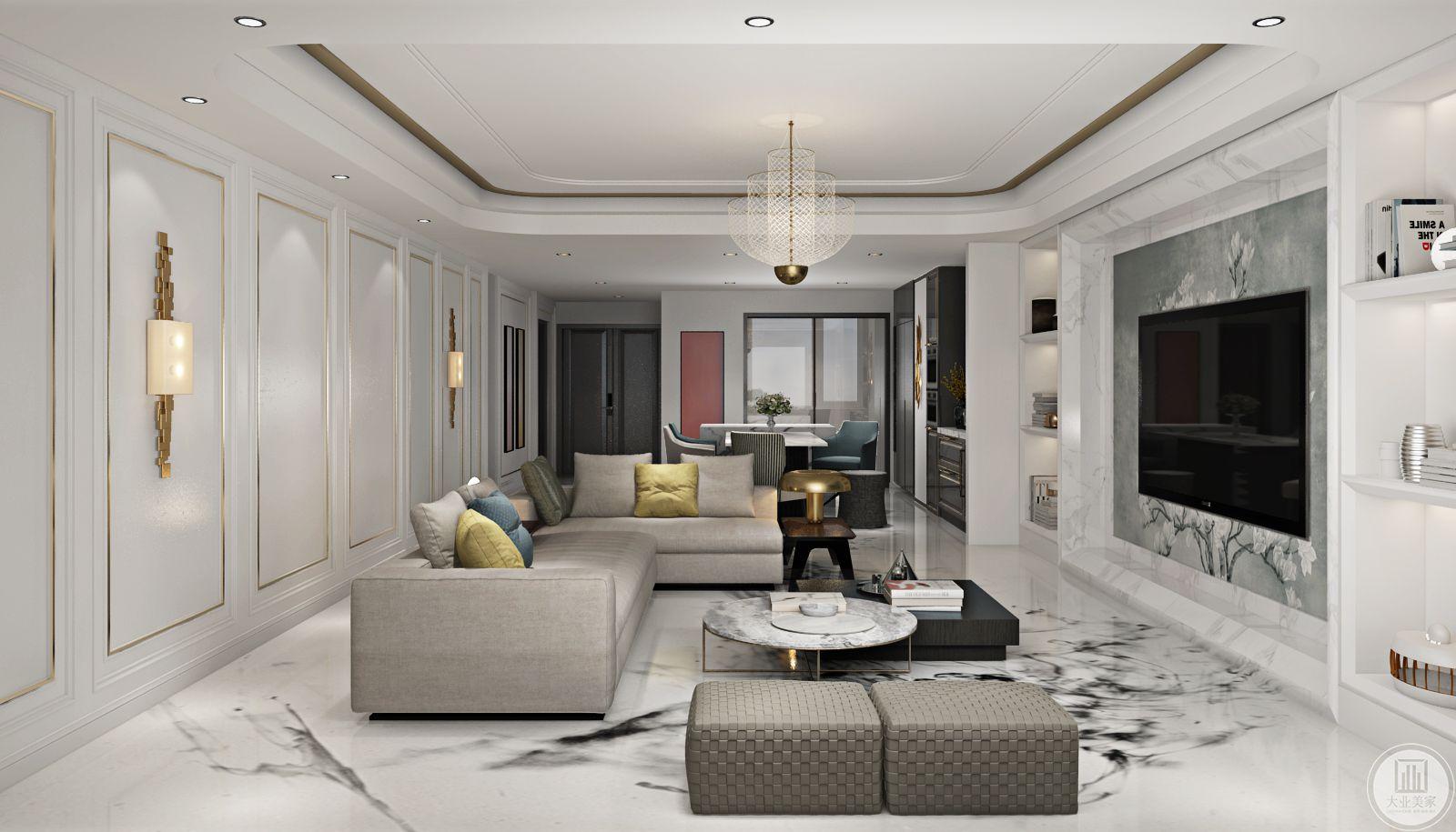 客厅的布置简单大方,吊灯是低调而奢华的,设计从视觉上拉伸了空间的高度,在色彩的搭配上也很有质感很简洁大方。