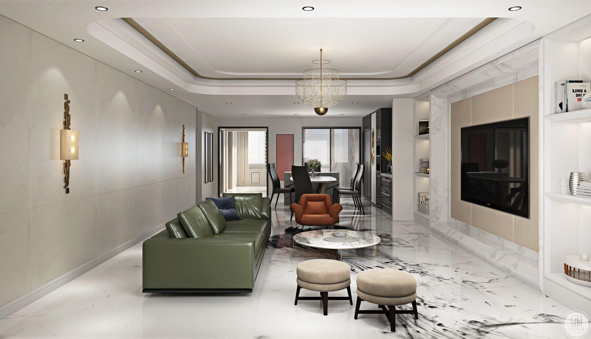 二层客厅与一层基本相似,如出一辙。