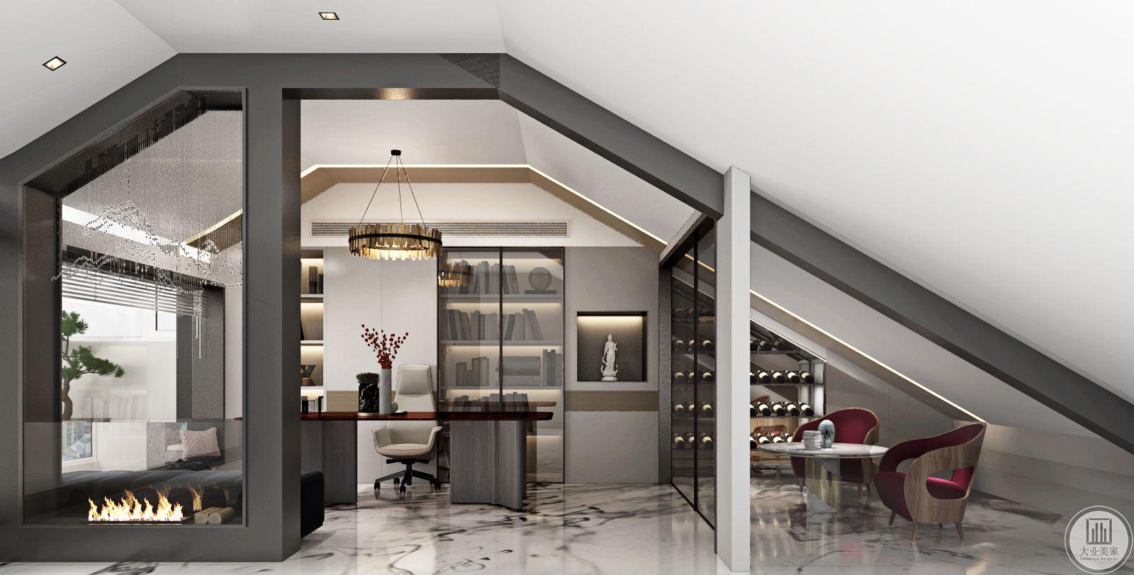 该区域为书房,整体墙面的书架墙,及和客厅相同风格色系的感觉,并在一旁设置了酒柜可以想象房屋主人极富情调及涵养。