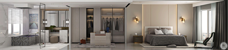 卧室采用了实木地板,地上搭配了浅色系地毯,色彩淡雅素净。床选用了实木欧式床,家具也度选取了实木家具,显得高贵典雅,并在一旁配以浴室间。