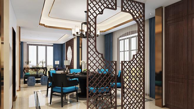 北京金隅上城郡新中式、新古典220平别墅装修效果图