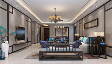 北京凯旋城三室186平新中式装修效果图